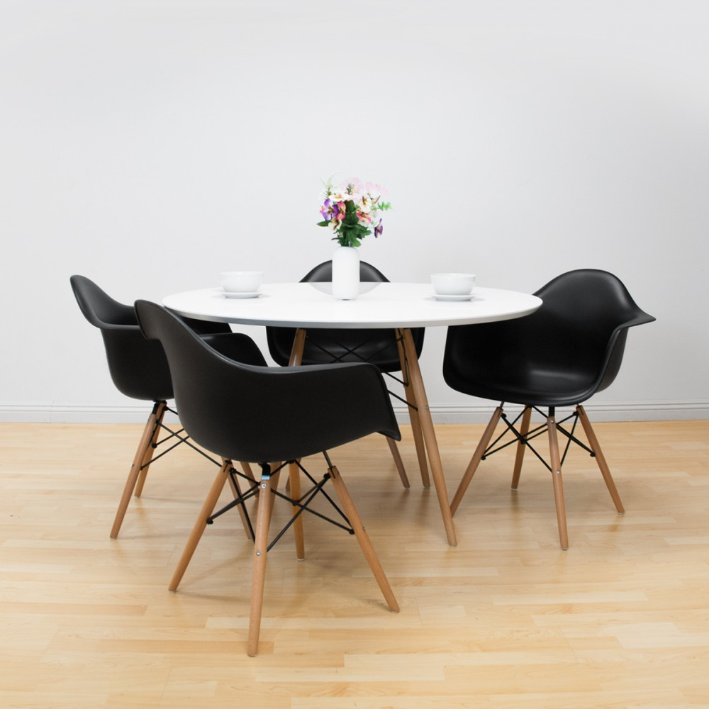 paris tower round table 5 piece dining set. Black Bedroom Furniture Sets. Home Design Ideas
