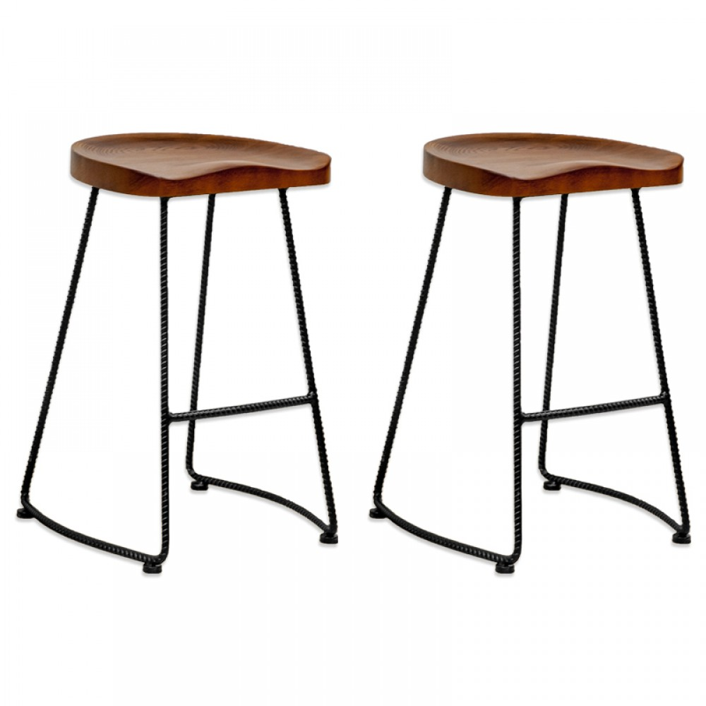 Potter Wood Counter Stool Metal Leg 2 Pack