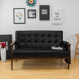 Tufted Leatherette Loveseat