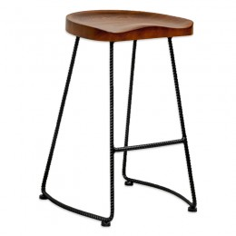 Potter Wood Counter Stool Metal Leg 2-Pack